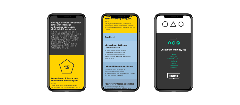 Mobility Labin sivusto suunniteltiin mobiilikäyttö edellä