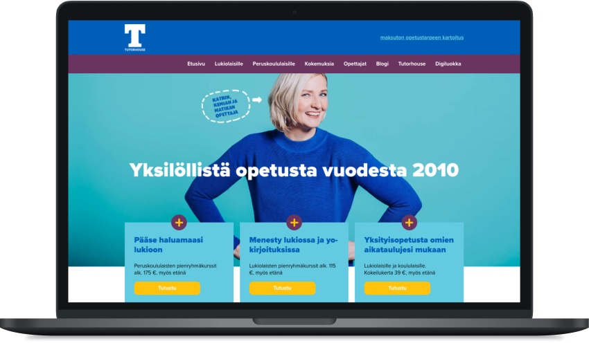Tutorhousen verkkosivusto päivitettiin uudistuneen brändi-ilmeen mukaiseksi